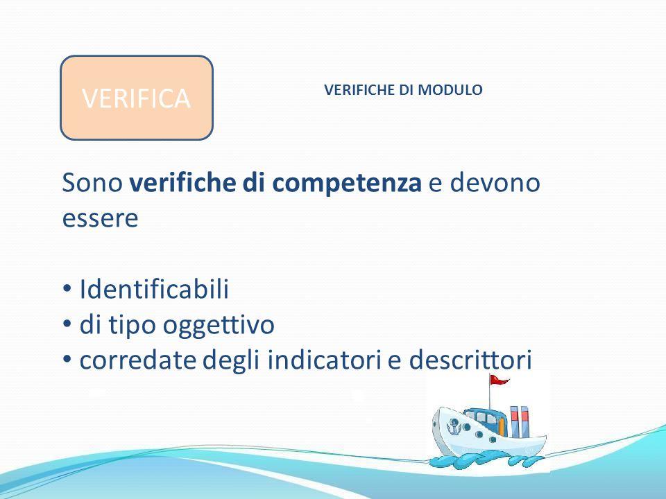 VERIFICA VERIFICHE DI MODULO Sono verifiche di competenza e devono essere Identificabili di tipo oggettivo corredate degli indicatori e descrittori