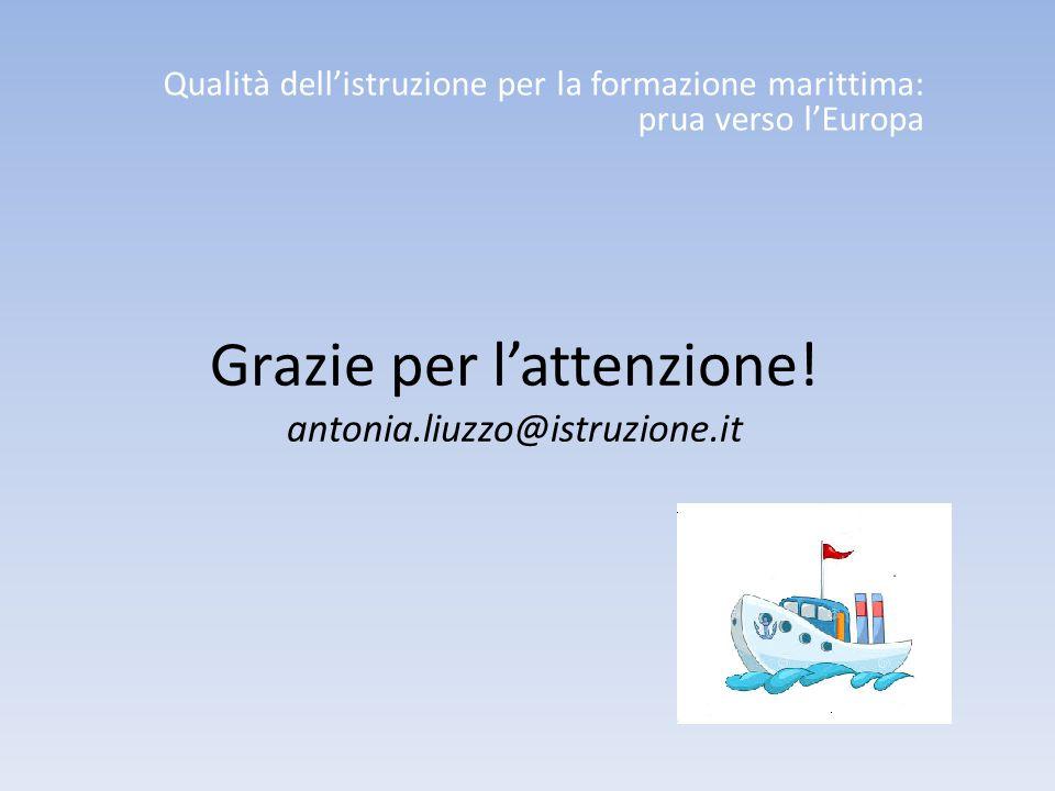 Grazie per l'attenzione! antonia.liuzzo@istruzione.it Qualità dell'istruzione per la formazione marittima: prua verso l'Europa