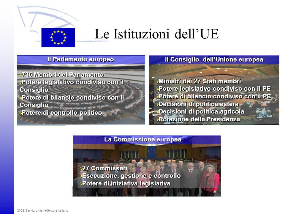 2009 Servizio Visite/Settore italiano I Presidenti delle Istituzioni dell'UE La presidenza del Consiglio dell'Unione europea Svezia luglio - dicembre 2009 Repubblica ceca gennaio - giugno 2009 Spagna gennaio - giugno 2010 Il presidente del Parlamento europeo Jerzy Buzek Il presidente della Commissione europea José Manuel Barroso