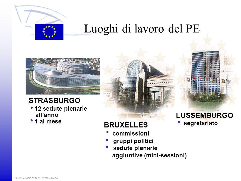 2009 Servizio Visite/Settore italiano Come lavora il Parlamento RIUNIONI DELLE COMMISSIONI RIUNIONI DELLE COMMISSIONI  18 settimane previste per le riunioni delle commissioni a Bruxelles SESSIONI PLENARIE SESSIONI PLENARIE  12 sedute plenarie all'anno a Strasburgo  6 sedute aggiuntive a Bruxelles GRUPPI POLITICI  12 settimane previste per le riunioni dei gruppi politici ELEZIONI EUROPEE 2009