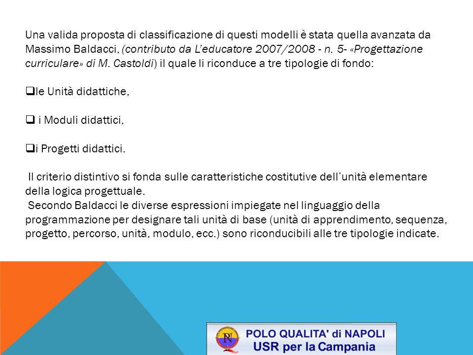 Una valida proposta di classificazione di questi modelli è stata quella avanzata da Massimo Baldacci, (contributo da L'educatore 2007/2008 - n.