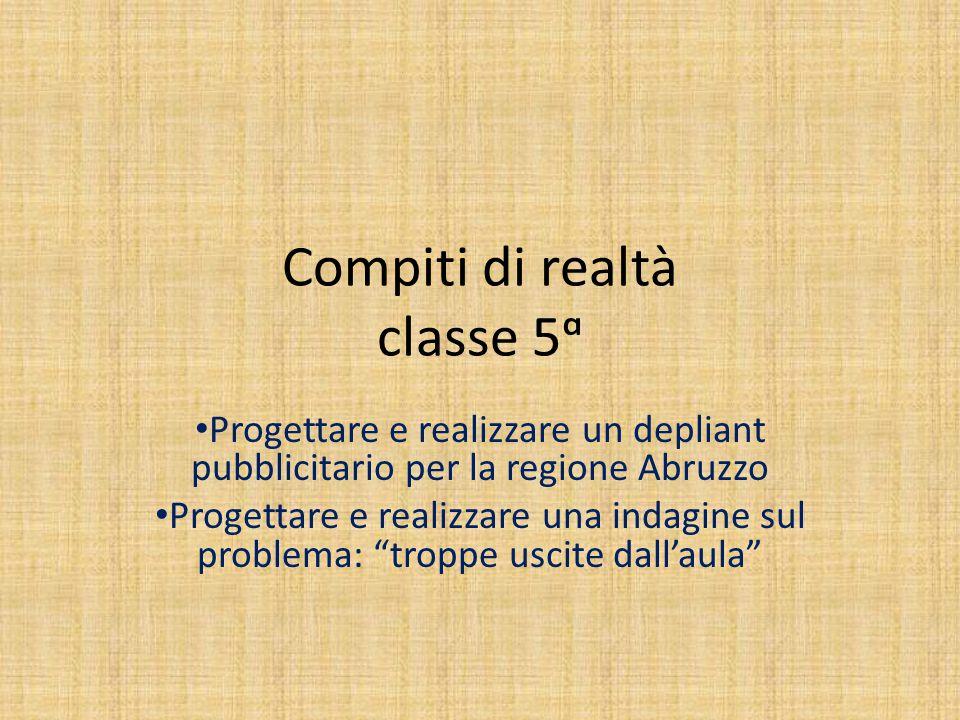 Compiti di realtà classe 5ᵅ Progettare e realizzare un depliant pubblicitario per la regione Abruzzo Progettare e realizzare una indagine sul problema