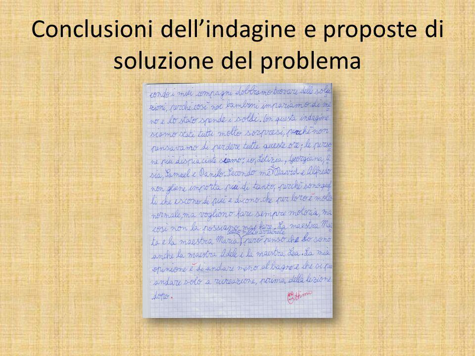 Conclusioni dell'indagine e proposte di soluzione del problema