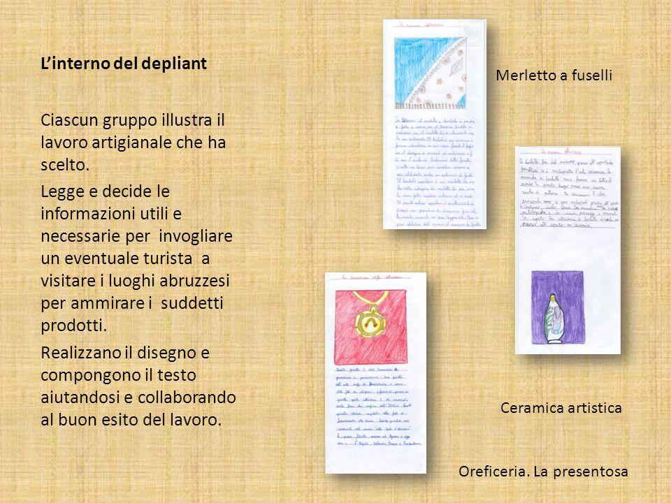 L'interno del depliant Ciascun gruppo illustra il lavoro artigianale che ha scelto. Legge e decide le informazioni utili e necessarie per invogliare u