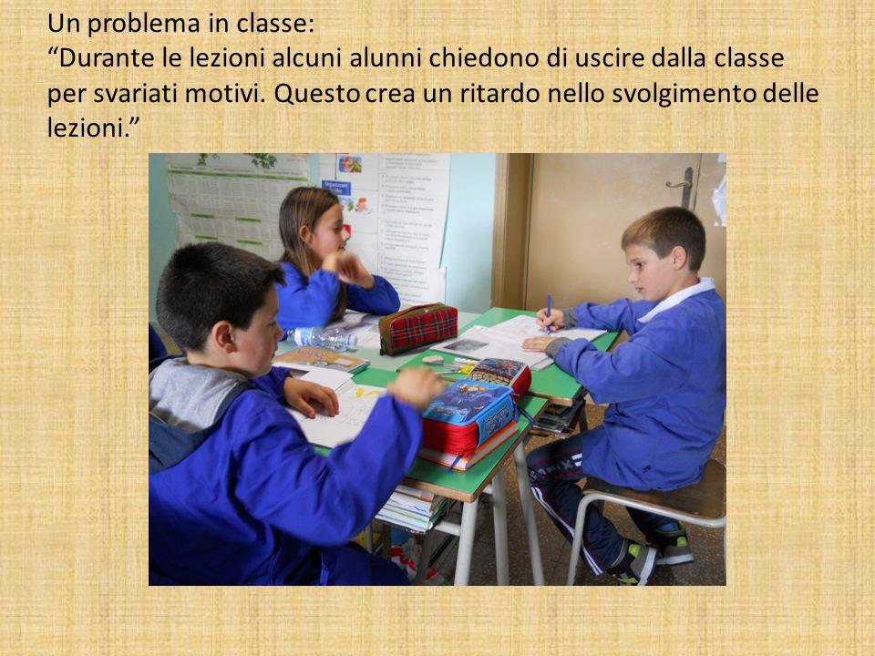 """Un problema in classe: """"Durante le lezioni alcuni alunni chiedono di uscire dalla classe per svariati motivi. Questo crea un ritardo nello svolgimento"""