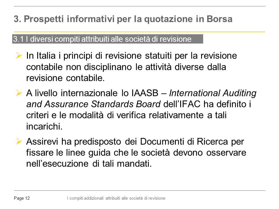 I compiti addizionali attribuiti alle società di revisionePage 12 3.1 I diversi compiti attribuiti alle società di revisione  In Italia i principi di revisione statuiti per la revisione contabile non disciplinano le attività diverse dalla revisione contabile.