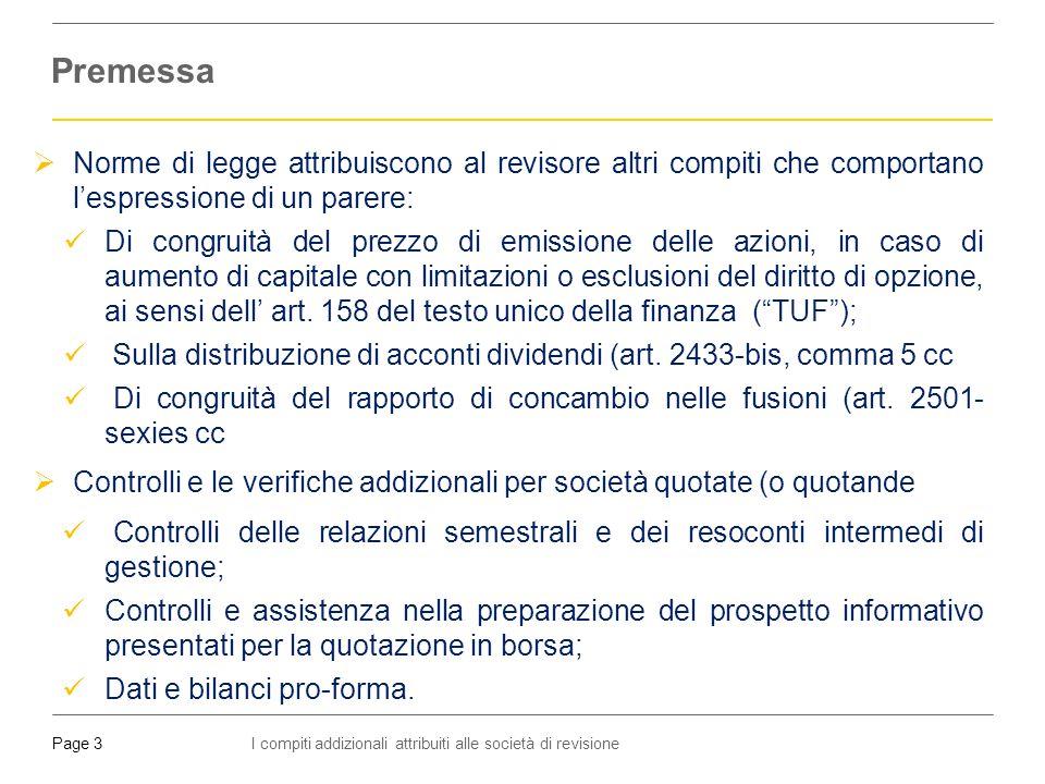 I compiti addizionali attribuiti alle società di revisionePage 4  Art.