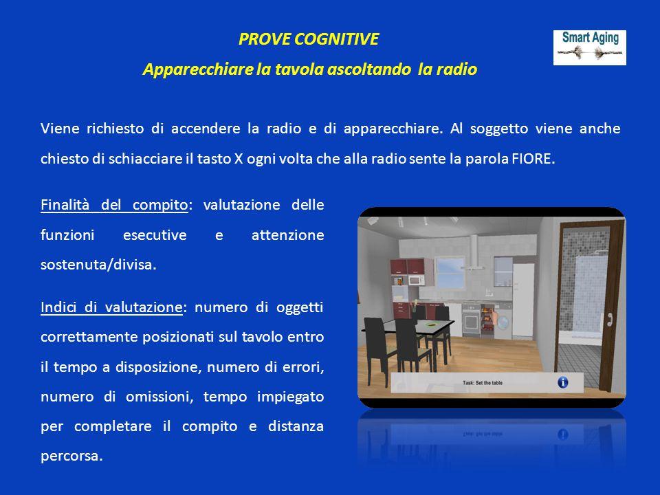 PROVE COGNITIVE Apparecchiare la tavola ascoltando la radio Viene richiesto di accendere la radio e di apparecchiare. Al soggetto viene anche chiesto