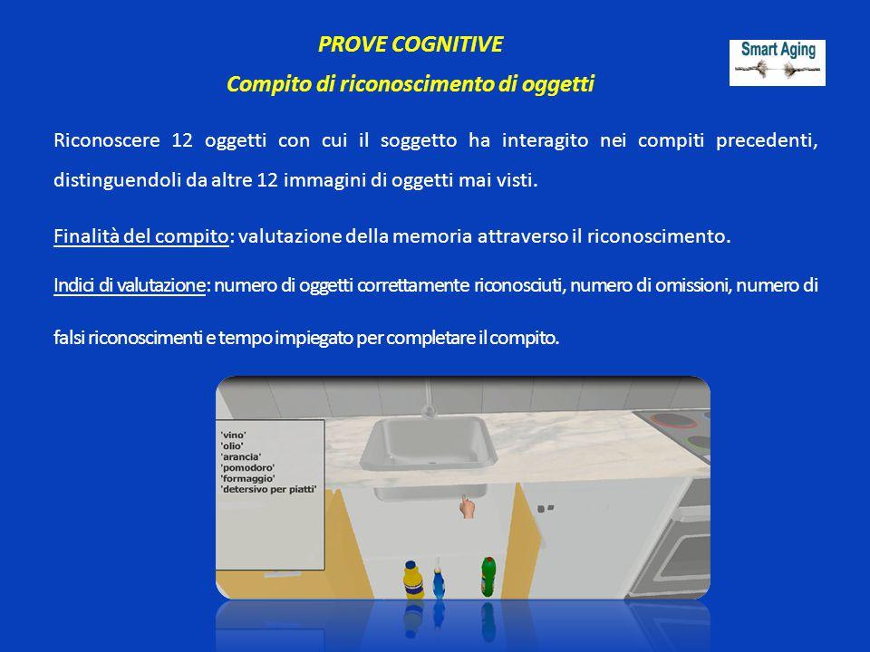 PROVE COGNITIVE Compito di riconoscimento di oggetti Riconoscere 12 oggetti con cui il soggetto ha interagito nei compiti precedenti, distinguendoli d