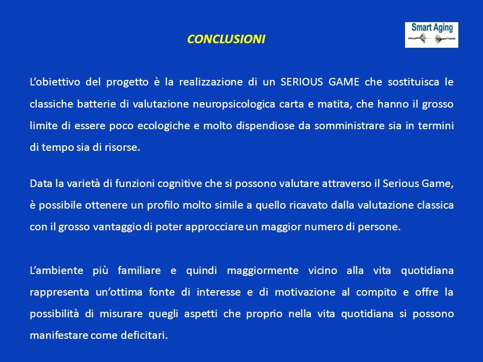 CONCLUSIONI L'obiettivo del progetto è la realizzazione di un SERIOUS GAME che sostituisca le classiche batterie di valutazione neuropsicologica carta