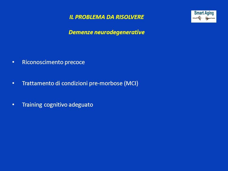 Demenze neurodegenerative Riconoscimento precoce Trattamento di condizioni pre-morbose (MCI) Training cognitivo adeguato IL PROBLEMA DA RISOLVERE