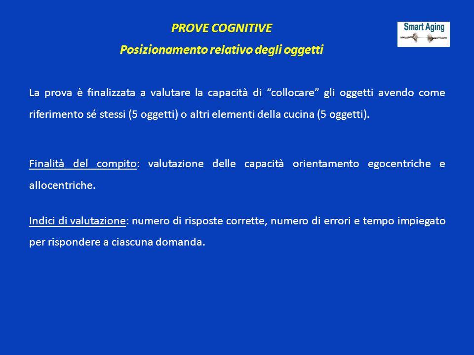 """PROVE COGNITIVE Posizionamento relativo degli oggetti La prova è finalizzata a valutare la capacità di """"collocare"""" gli oggetti avendo come riferimento"""