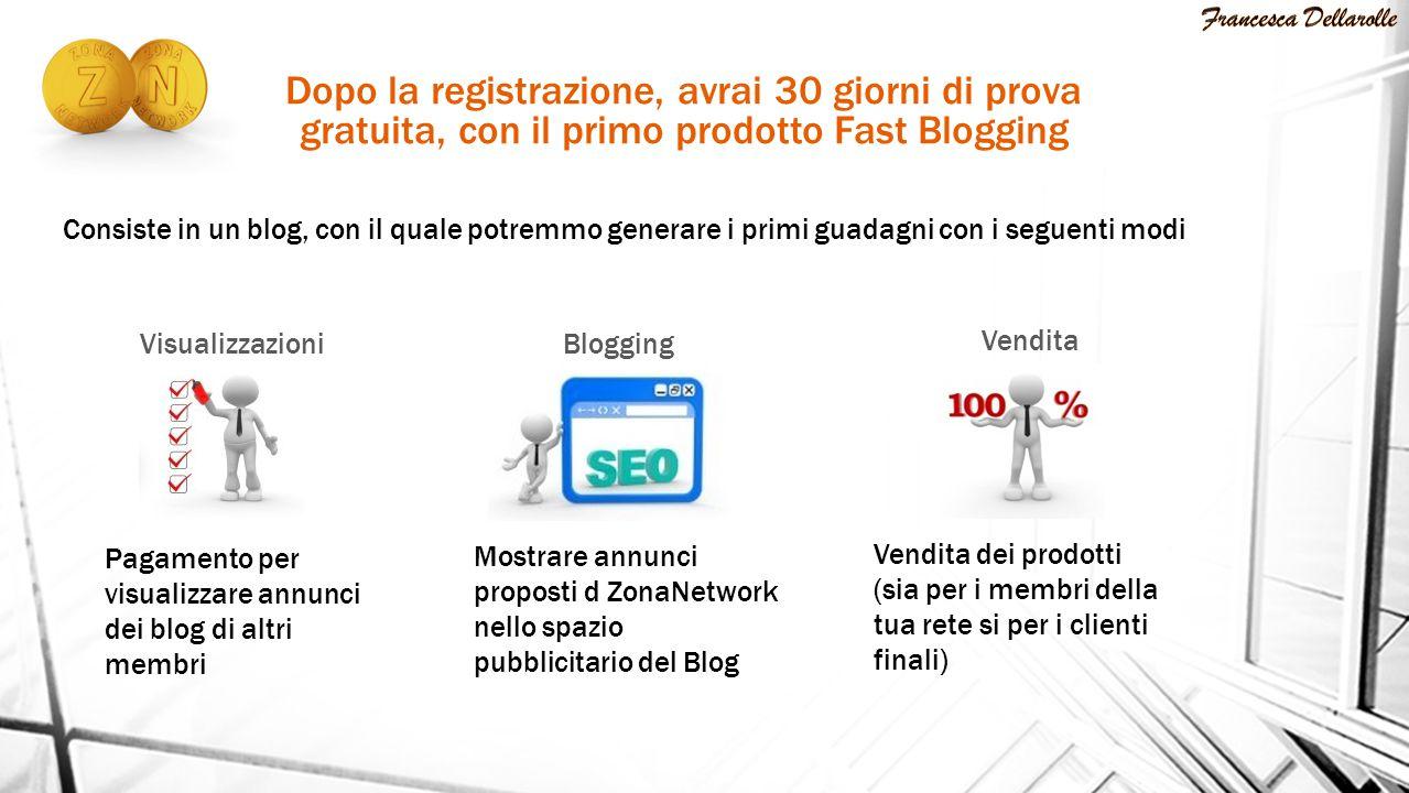 VisualizzazioniBlogging Dopo la registrazione, avrai 30 giorni di prova gratuita, con il primo prodotto Fast Blogging Consiste in un blog, con il qual