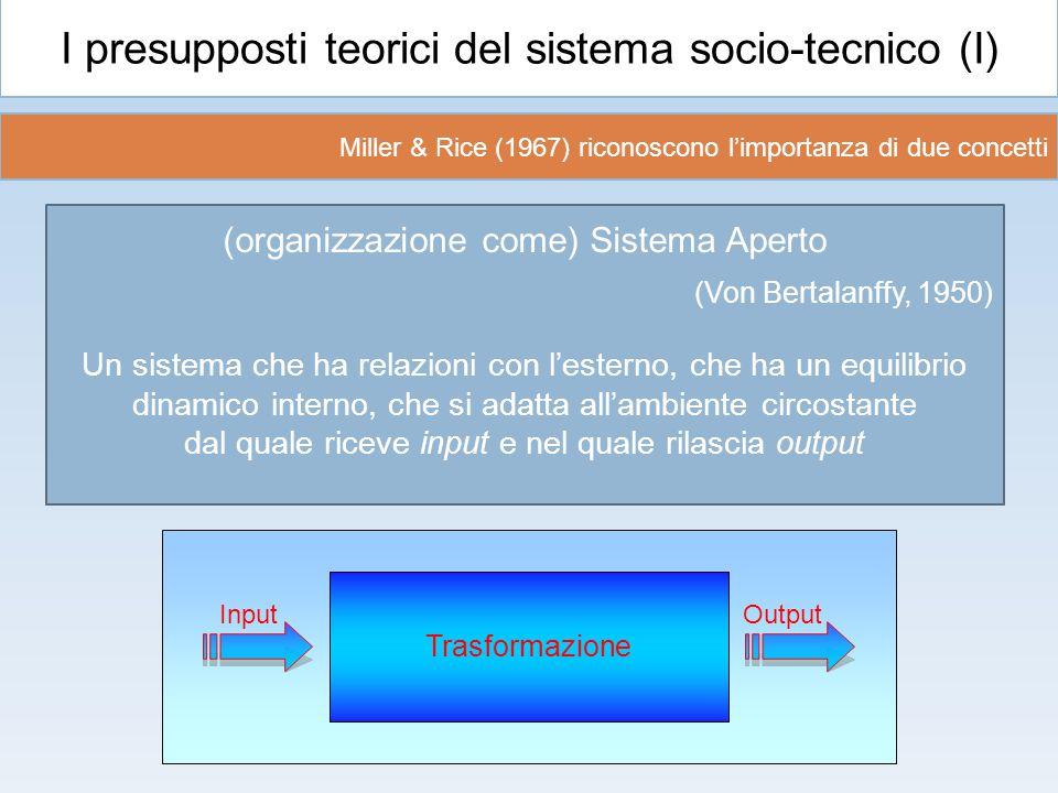 I presupposti teorici del sistema socio-tecnico (I) (organizzazione come) Sistema Aperto (Von Bertalanffy, 1950) Un sistema che ha relazioni con l'est