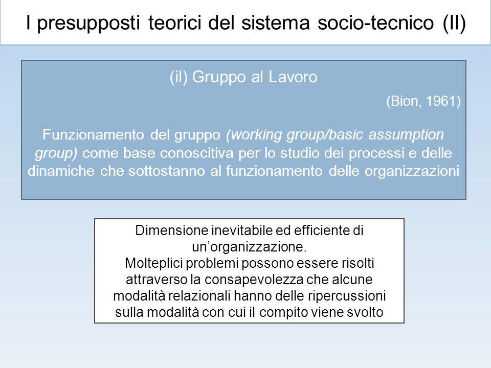 I presupposti teorici del sistema socio-tecnico (II) (il) Gruppo al Lavoro (Bion, 1961) Funzionamento del gruppo (working group/basic assumption group