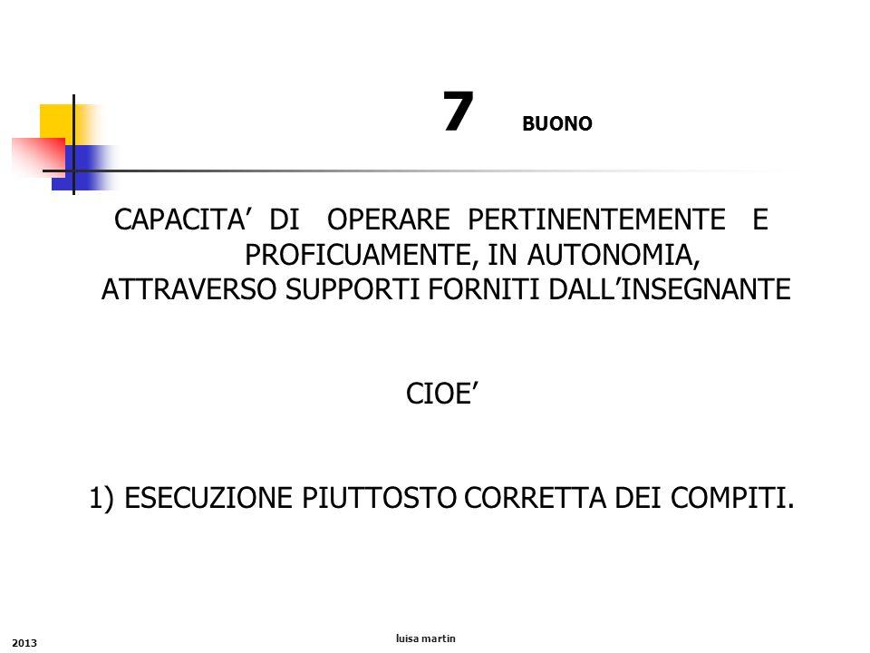 7 BUONO CAPACITA' DI OPERARE PERTINENTEMENTE E PROFICUAMENTE, IN AUTONOMIA, ATTRAVERSO SUPPORTI FORNITI DALL'INSEGNANTE CIOE' 1) ESECUZIONE PIUTTOSTO