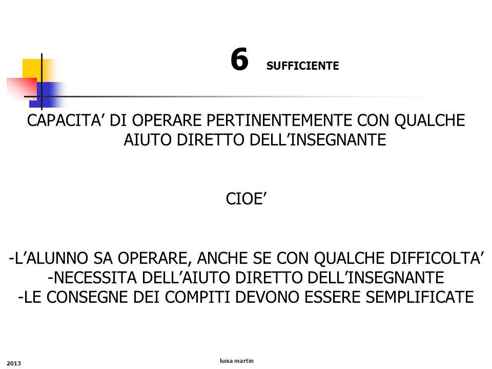 6 SUFFICIENTE CAPACITA' DI OPERARE PERTINENTEMENTE CON QUALCHE AIUTO DIRETTO DELL'INSEGNANTE CIOE' -L'ALUNNO SA OPERARE, ANCHE SE CON QUALCHE DIFFICOL