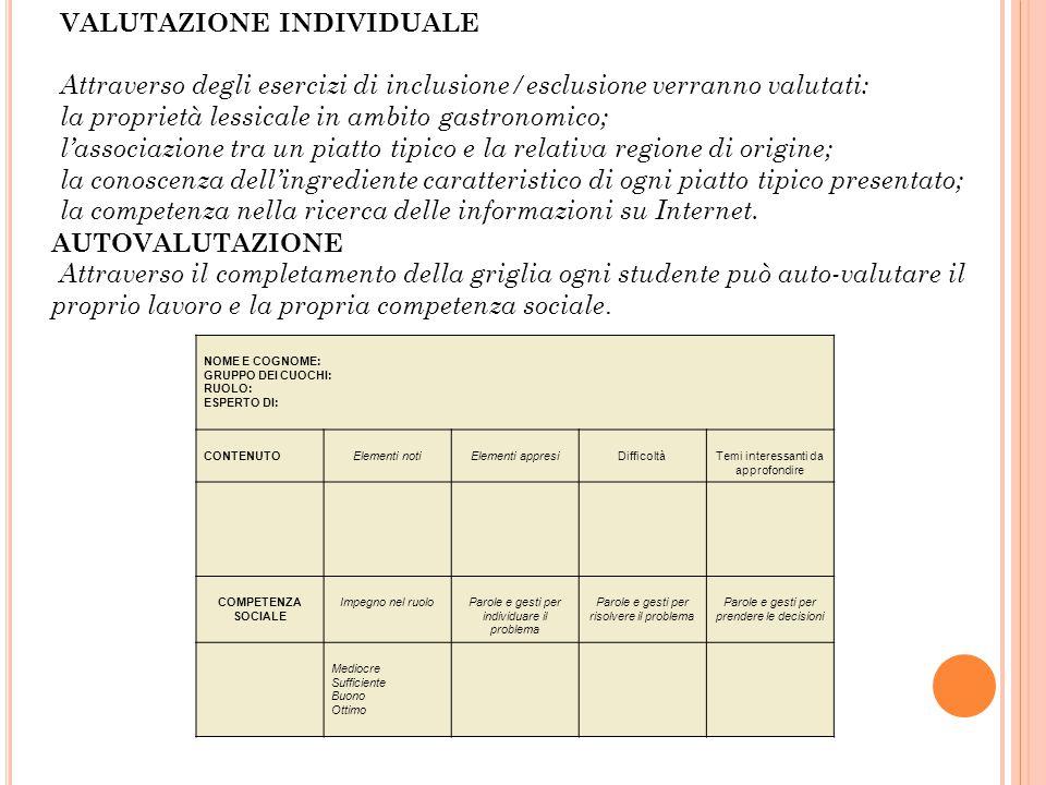 VALUTAZIONE INDIVIDUALE Attraverso degli esercizi di inclusione/esclusione verranno valutati: la proprietà lessicale in ambito gastronomico; l'associa