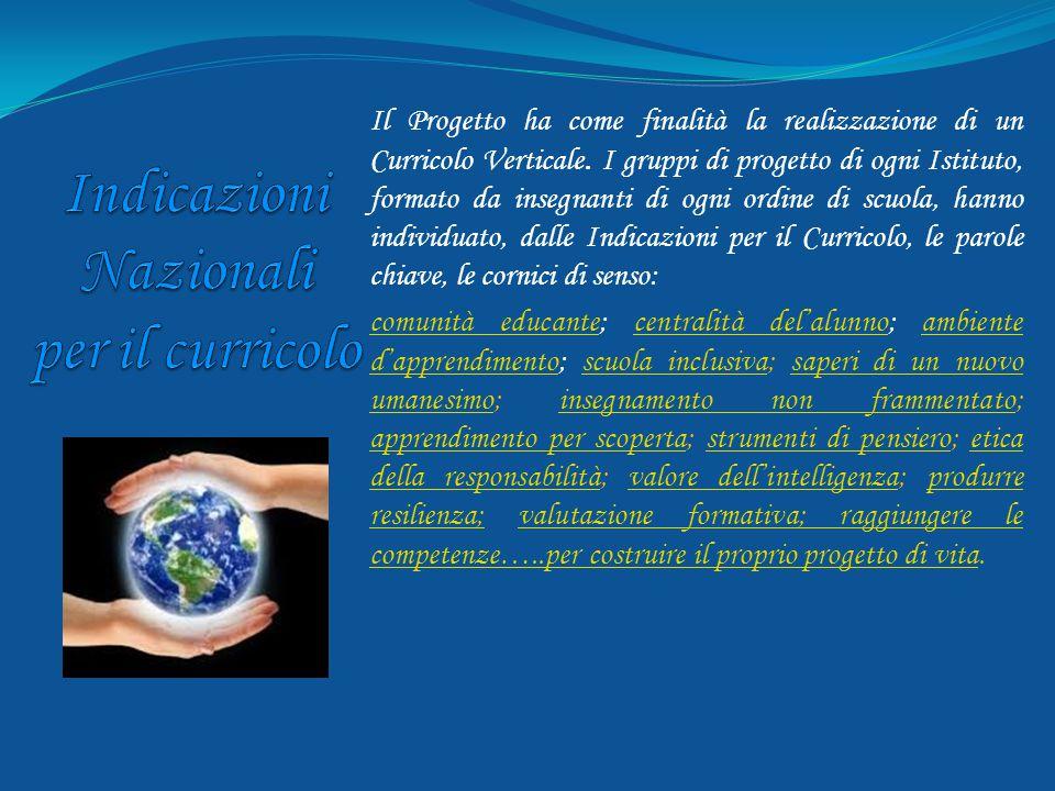 Il Progetto ha come finalità la realizzazione di un Curricolo Verticale. I gruppi di progetto di ogni Istituto, formato da insegnanti di ogni ordine d