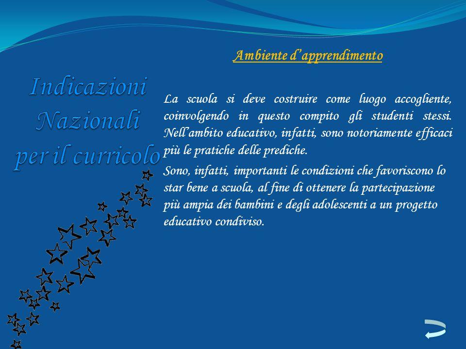 Ambiente d'apprendimento La scuola si deve costruire come luogo accogliente, coinvolgendo in questo compito gli studenti stessi. Nell'ambito educativo