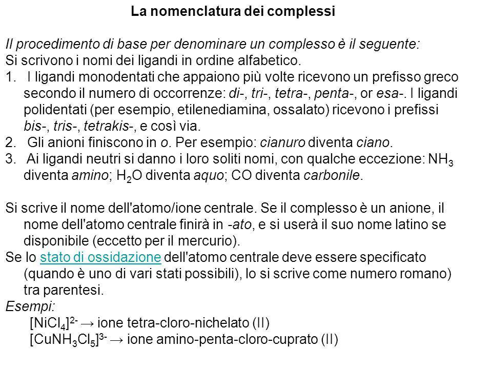 La nomenclatura dei complessi Il procedimento di base per denominare un complesso è il seguente: Si scrivono i nomi dei ligandi in ordine alfabetico.