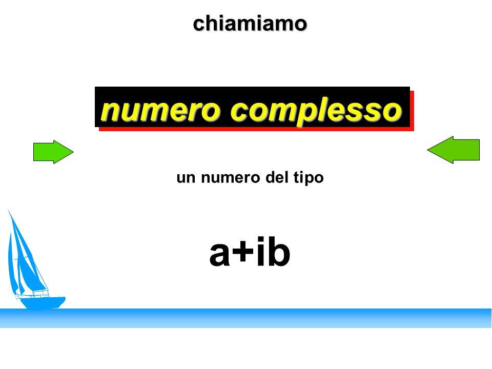 chiamiamo numero complesso chiamiamo numero complesso un numero del tipo a+ib
