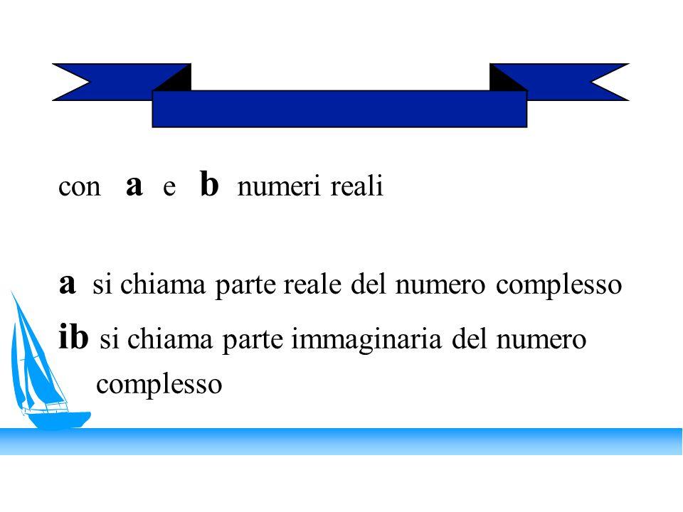 con a e b numeri reali a si chiama parte reale del numero complesso ib si chiama parte immaginaria del numero complesso