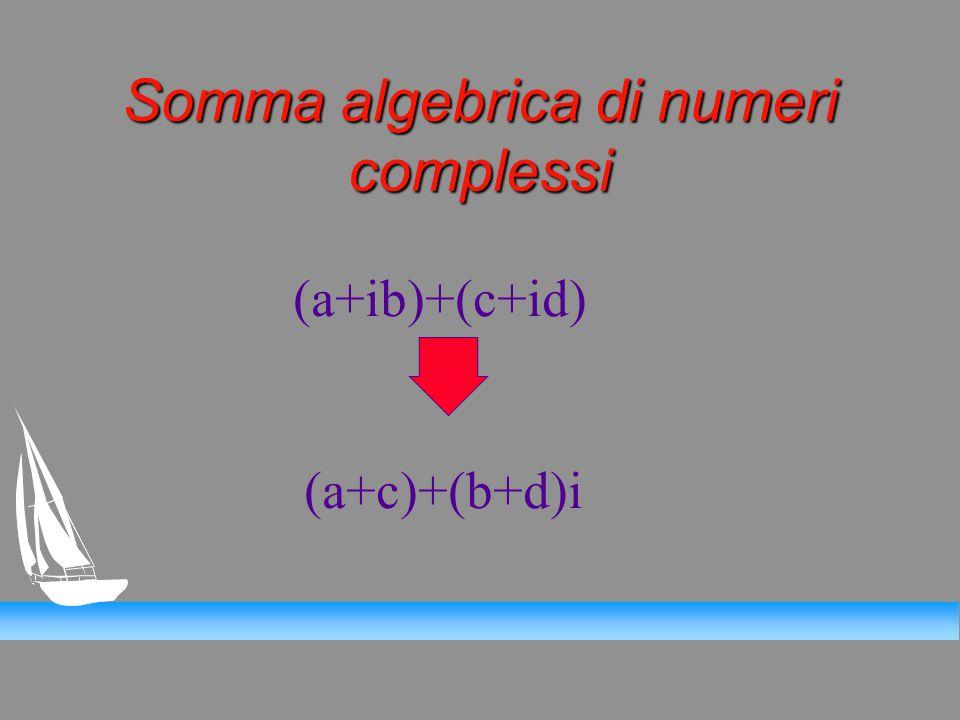 Somma algebrica di numeri complessi (a+ib)+(c+id) (a+c)+(b+d)i