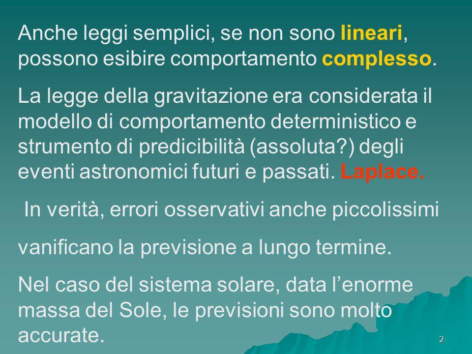 2 Anche leggi semplici, se non sono lineari, possono esibire comportamento complesso. La legge della gravitazione era considerata il modello di compor