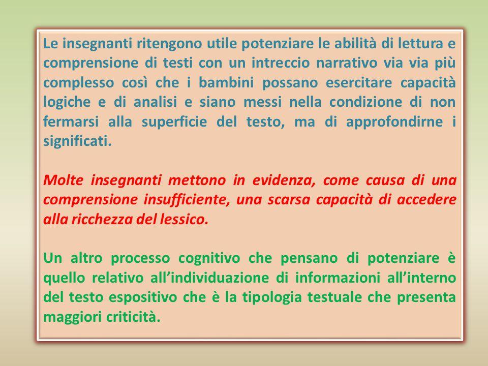 Si conferma che i processi cognitivi da potenziare sono quelli relativi alla comprensione del testo che permette di ricostruirne il significato generale e di rielaborarlo.