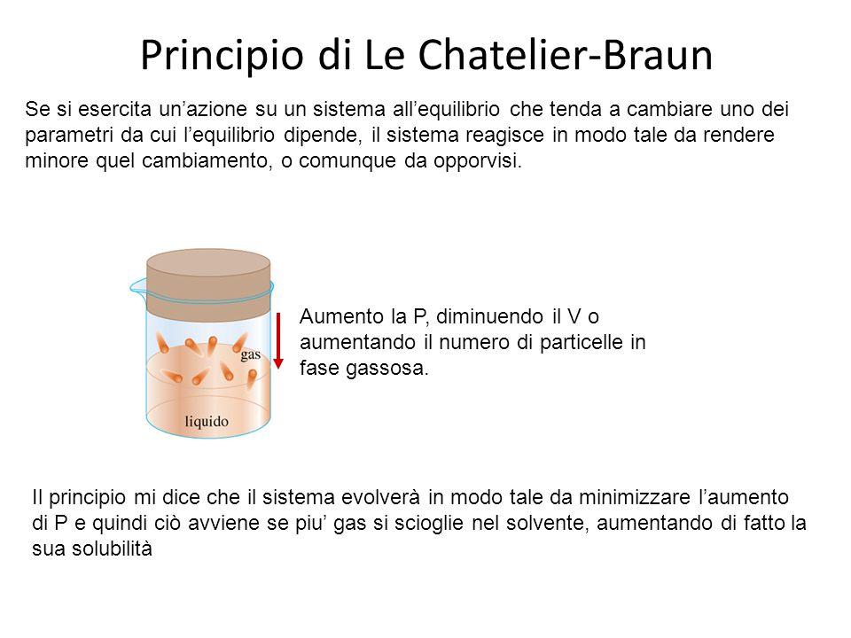 Principio di Le Chatelier-Braun Se si esercita un'azione su un sistema all'equilibrio che tenda a cambiare uno dei parametri da cui l'equilibrio dipen