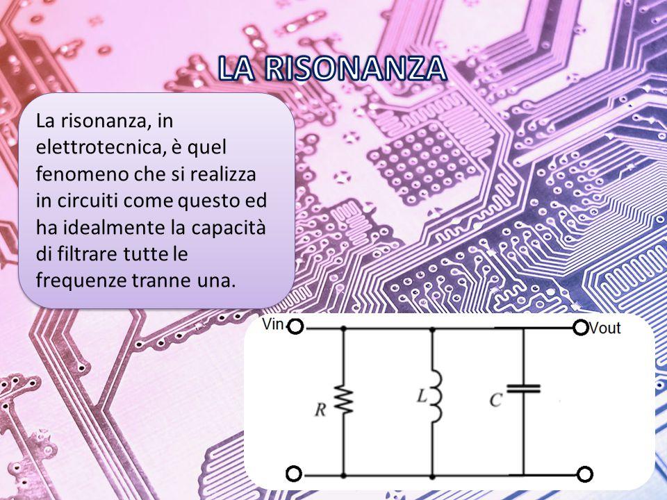 La risonanza, in elettrotecnica, è quel fenomeno che si realizza in circuiti come questo ed ha idealmente la capacità di filtrare tutte le frequenze tranne una.