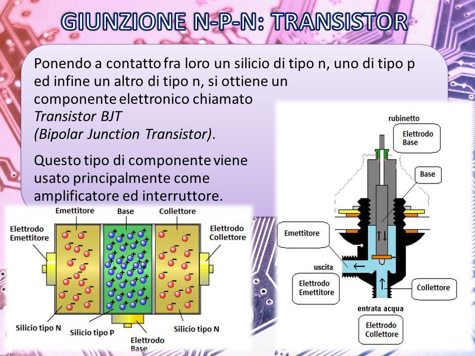 Ponendo a contatto fra loro un silicio di tipo n, uno di tipo p ed infine un altro di tipo n, si ottiene un componente elettronico chiamato Transistor BJT (Bipolar Junction Transistor).