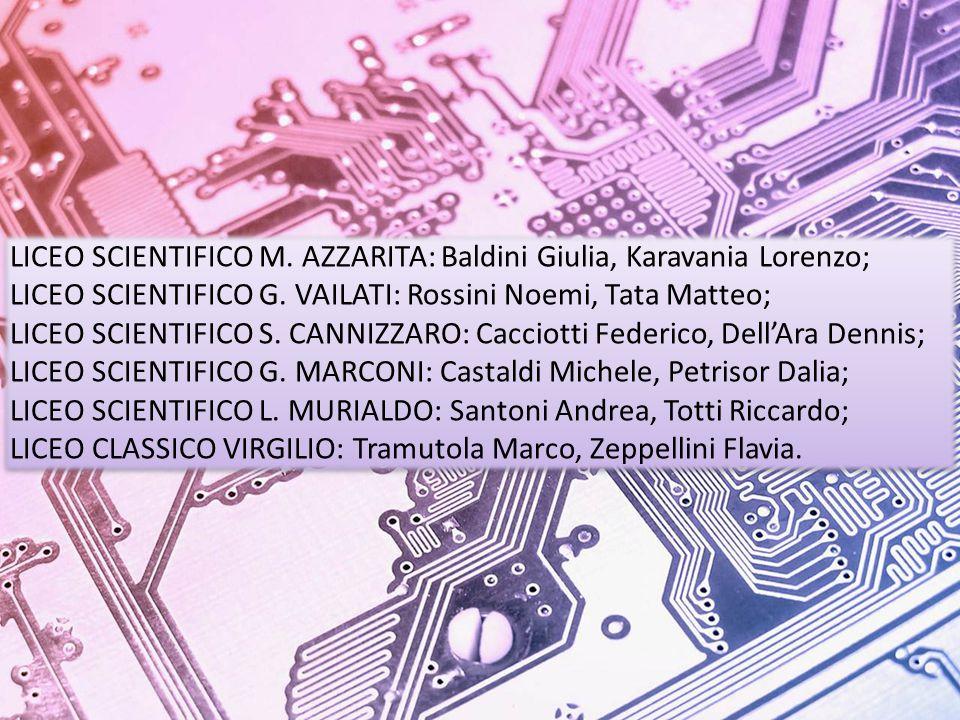 LICEO SCIENTIFICO M.AZZARITA: Baldini Giulia, Karavania Lorenzo; LICEO SCIENTIFICO G.