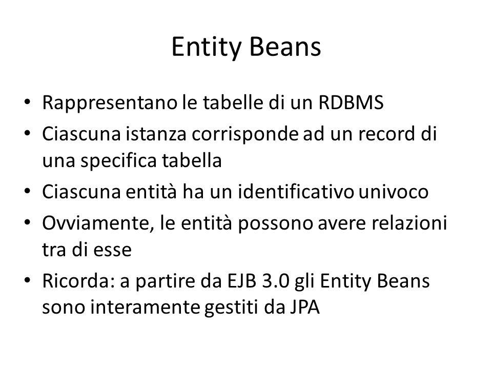 Entity Beans Rappresentano le tabelle di un RDBMS Ciascuna istanza corrisponde ad un record di una specifica tabella Ciascuna entità ha un identificat