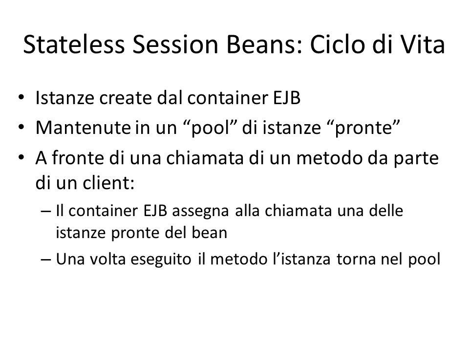 """Stateless Session Beans: Ciclo di Vita Istanze create dal container EJB Mantenute in un """"pool"""" di istanze """"pronte"""" A fronte di una chiamata di un meto"""
