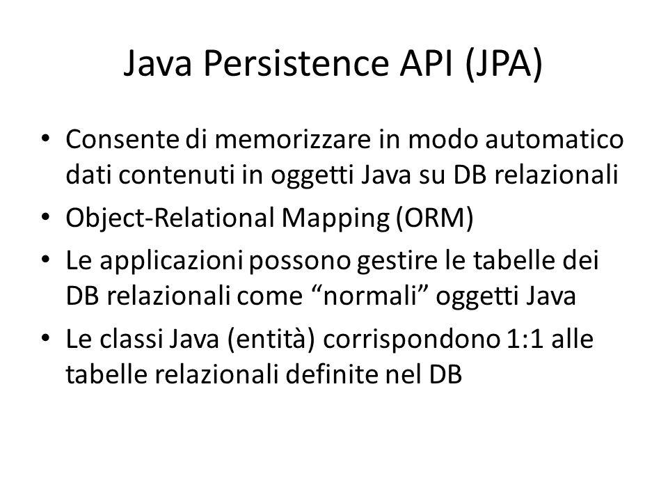 Java Persistence API (JPA) Consente di memorizzare in modo automatico dati contenuti in oggetti Java su DB relazionali Object-Relational Mapping (ORM)