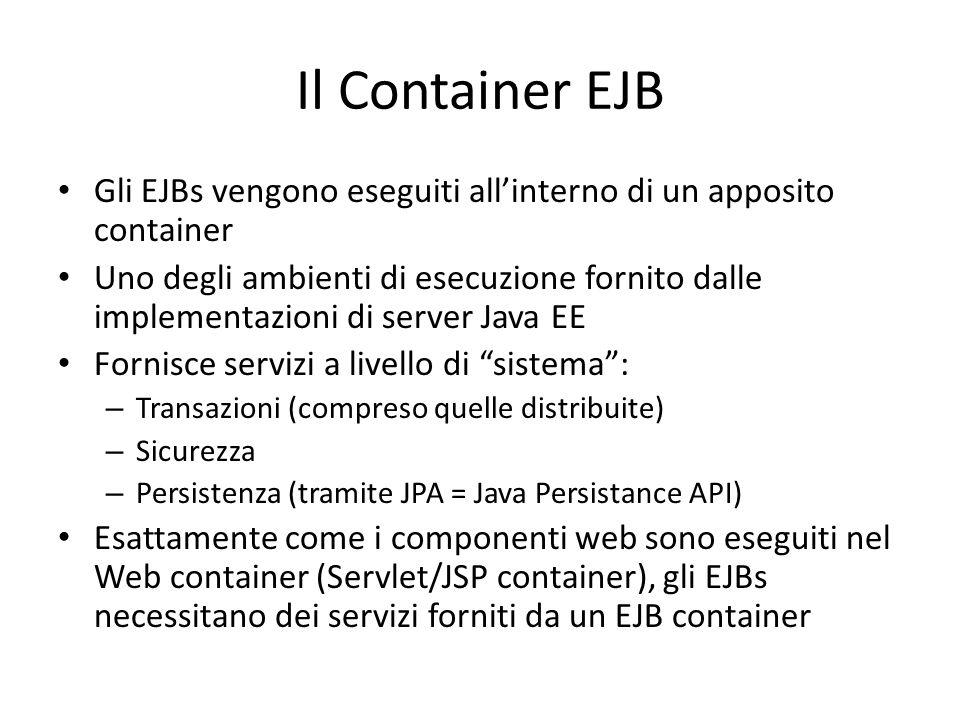 Gli EJBs vengono eseguiti all'interno di un apposito container Uno degli ambienti di esecuzione fornito dalle implementazioni di server Java EE Fornis