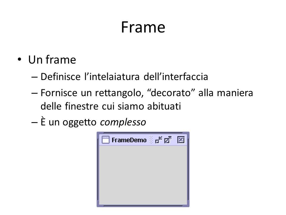 """Frame Un frame – Definisce l'intelaiatura dell'interfaccia – Fornisce un rettangolo, """"decorato"""" alla maniera delle finestre cui siamo abituati – È un"""
