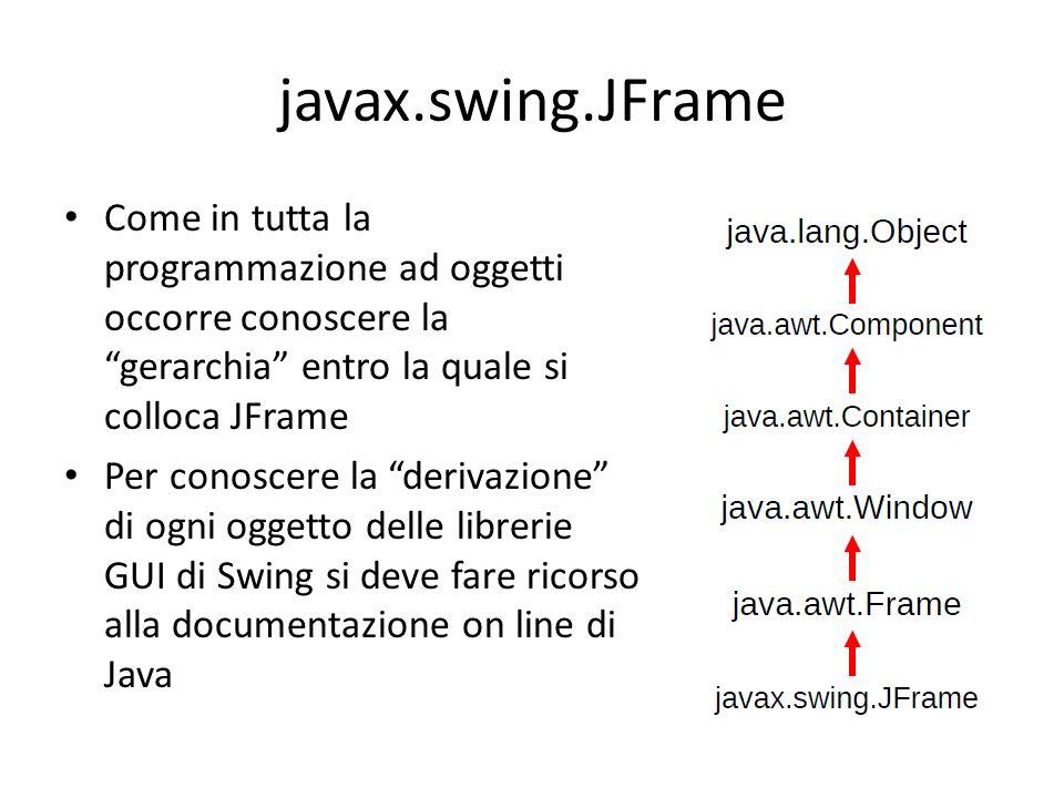 """javax.swing.JFrame Come in tutta la programmazione ad oggetti occorre conoscere la """"gerarchia"""" entro la quale si colloca JFrame Per conoscere la """"deri"""