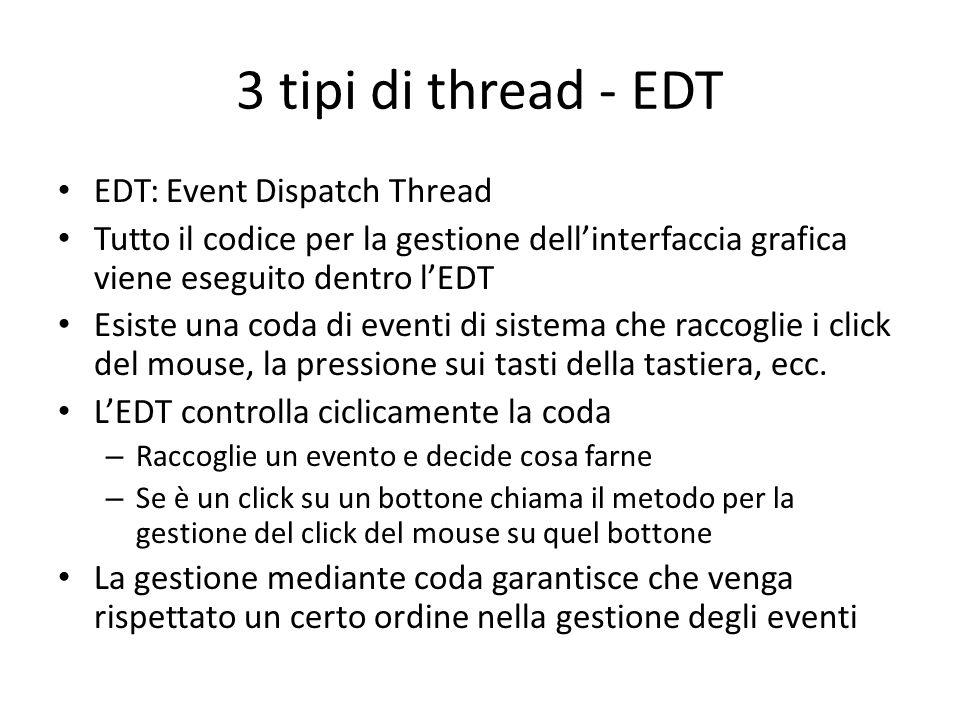 3 tipi di thread - EDT EDT: Event Dispatch Thread Tutto il codice per la gestione dell'interfaccia grafica viene eseguito dentro l'EDT Esiste una coda
