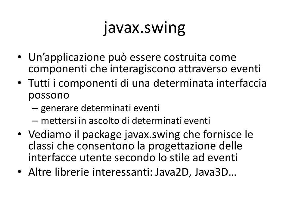 javax.swing Un'applicazione può essere costruita come componenti che interagiscono attraverso eventi Tutti i componenti di una determinata interfaccia