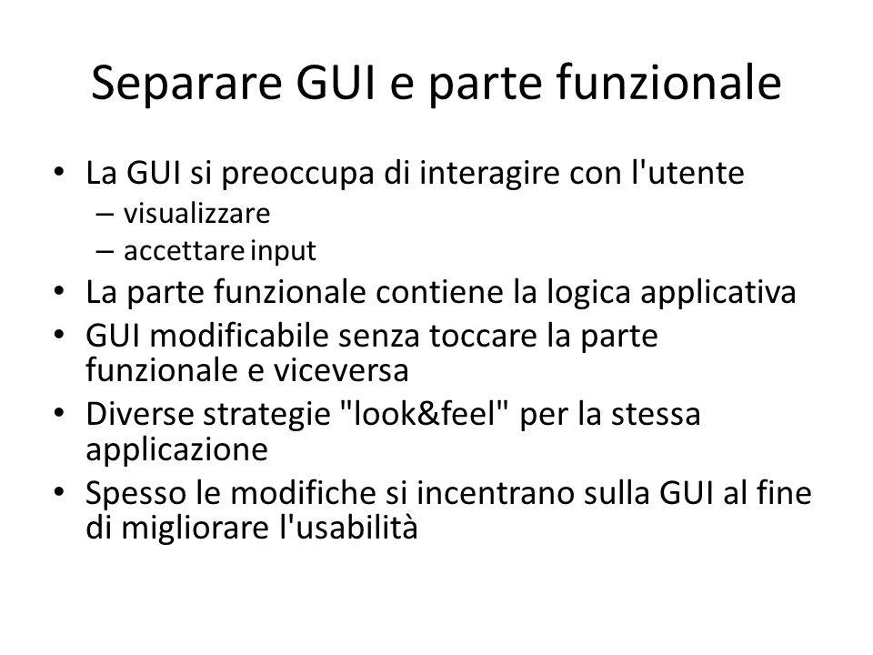 Separare GUI e parte funzionale La GUI si preoccupa di interagire con l'utente – visualizzare – accettare input La parte funzionale contiene la logica