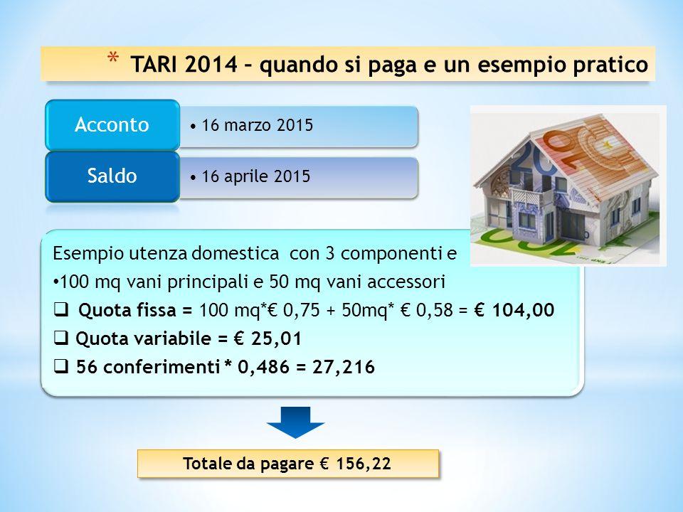 Tariffe approvate dai Comuni Metodo di Calcolo Quota fissa (tariffa in base al n. dei componenti del nucleo familiare x mq) + Quota variabile ( tariff