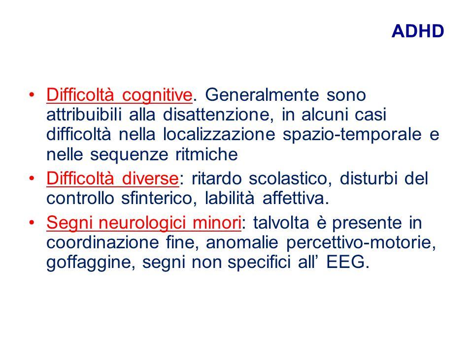 ADHD Difficoltà cognitive. Generalmente sono attribuibili alla disattenzione, in alcuni casi difficoltà nella localizzazione spazio-temporale e nelle