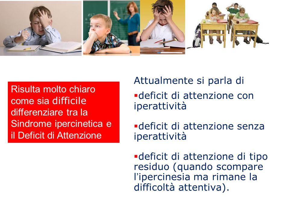 Attualmente si parla di  deficit di attenzione con iperattività  deficit di attenzione senza iperattività  deficit di attenzione di tipo residuo (q