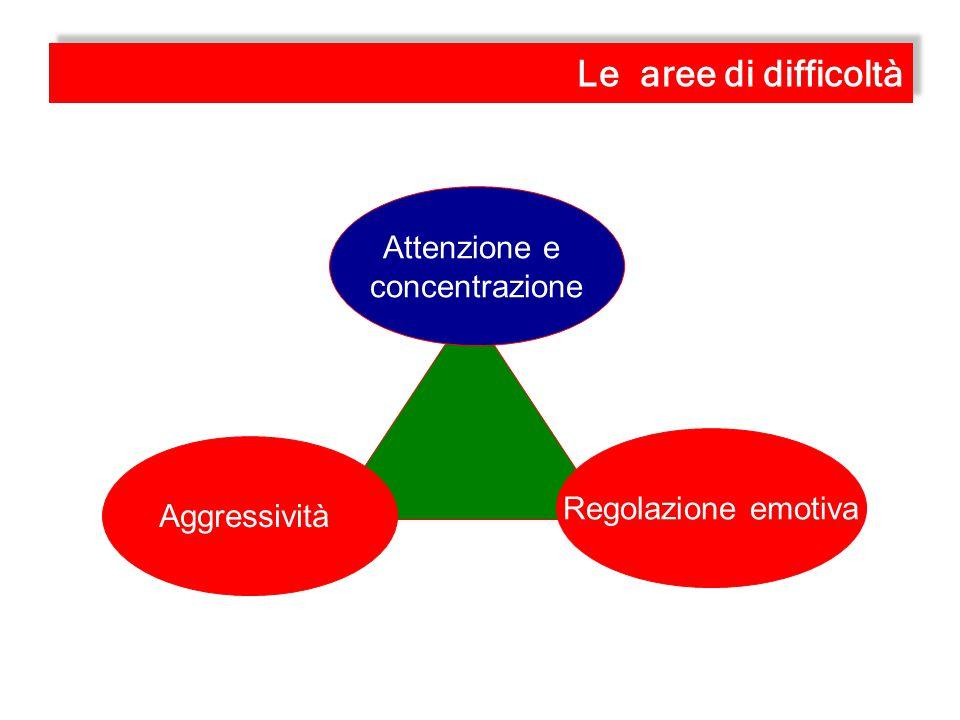 Regolazione emotiva Aggressività Attenzione e concentrazione Le aree di difficoltà