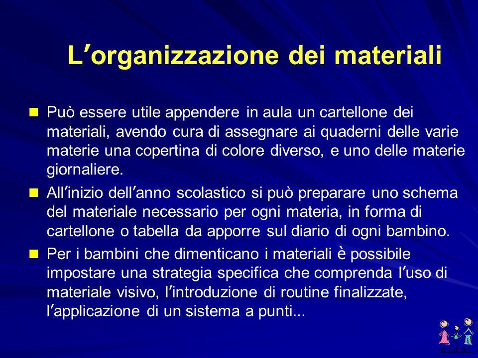 L'organizzazione dei materiali Una delle difficoltà più di frequenti riferite dagli insegnanti è quella legata all'organizzazione del materiale di lav