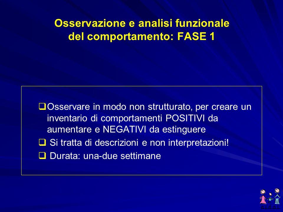 L'osservazione del comportamento Osservazione e rilevamento dei comportamenti positivi Osservazione e rilevamento dei comportamenti positivi Osservazi