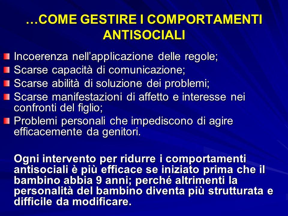 COME GESTIRE I COMPORTAMENTI ANTISOCIALI Molto spesso i comportamenti antisociali, provocatori, devianti si sviluppano in contesti familiari repressiv